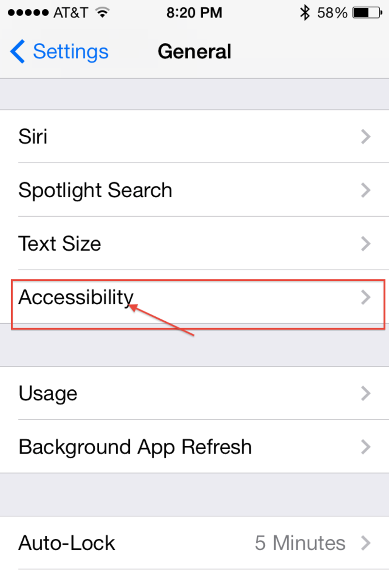 "From the ""General Settings"" menu open the ""Accessibility"" option."