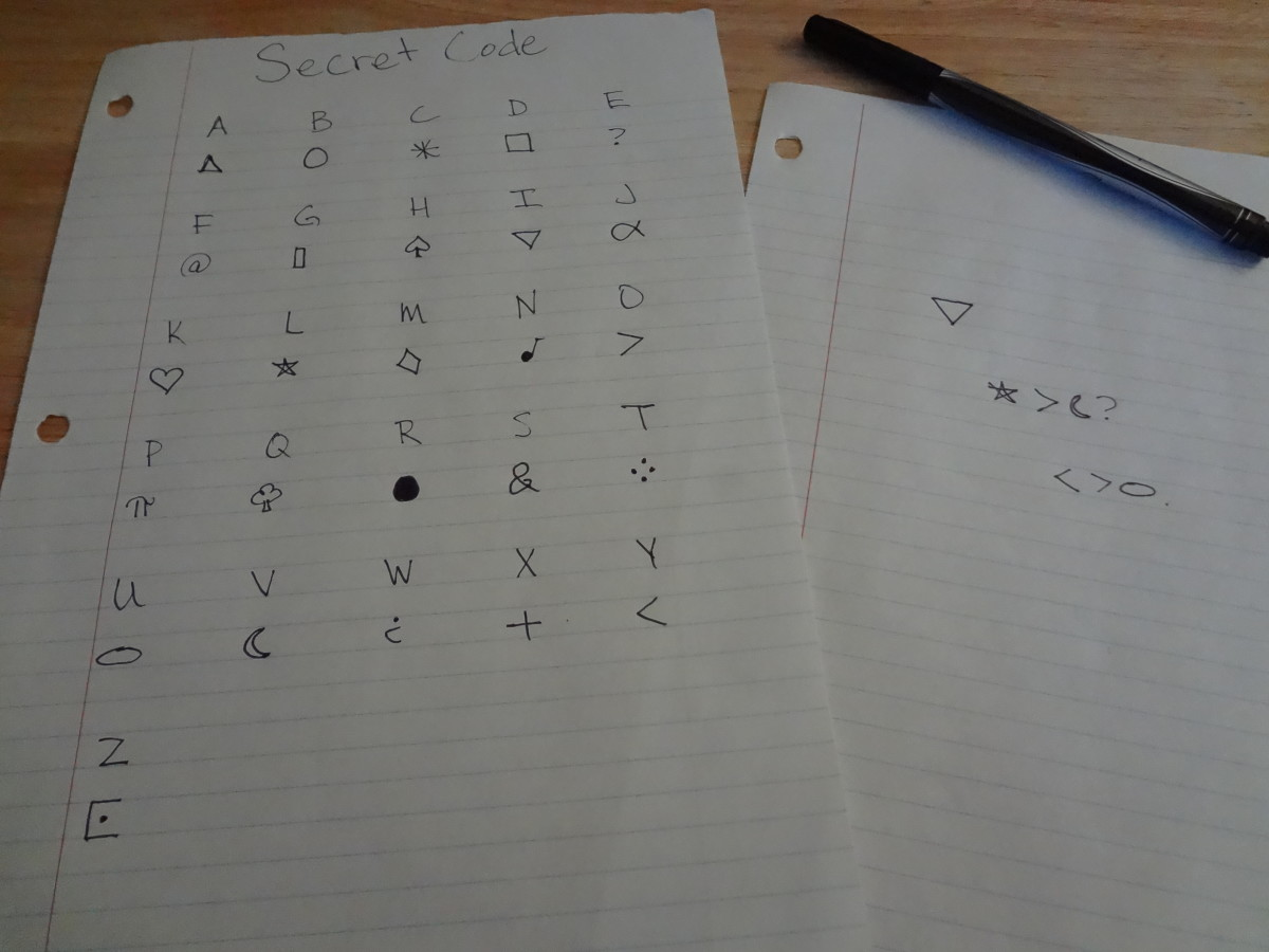 Secret code using a symbol for each letter of the alphabet. Can you read the message on the right?