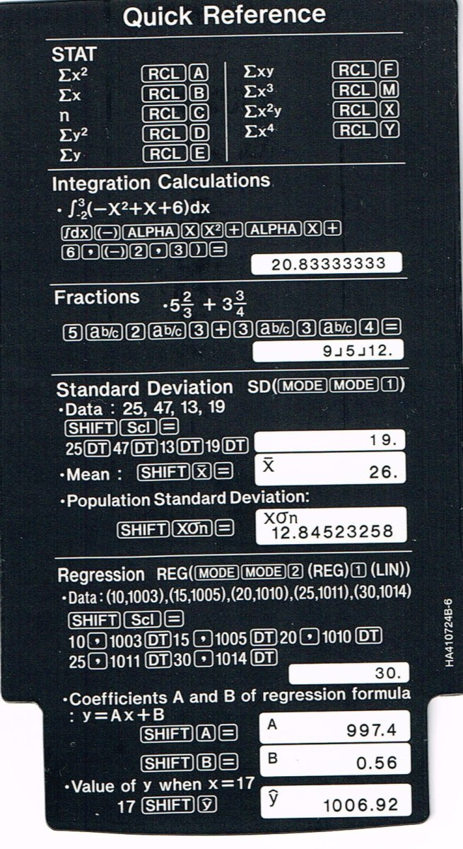 The Casio fx-115 includes an insert inside the cover which details step by step the keystrokes for Calculus integrations, statistics, and a regression.