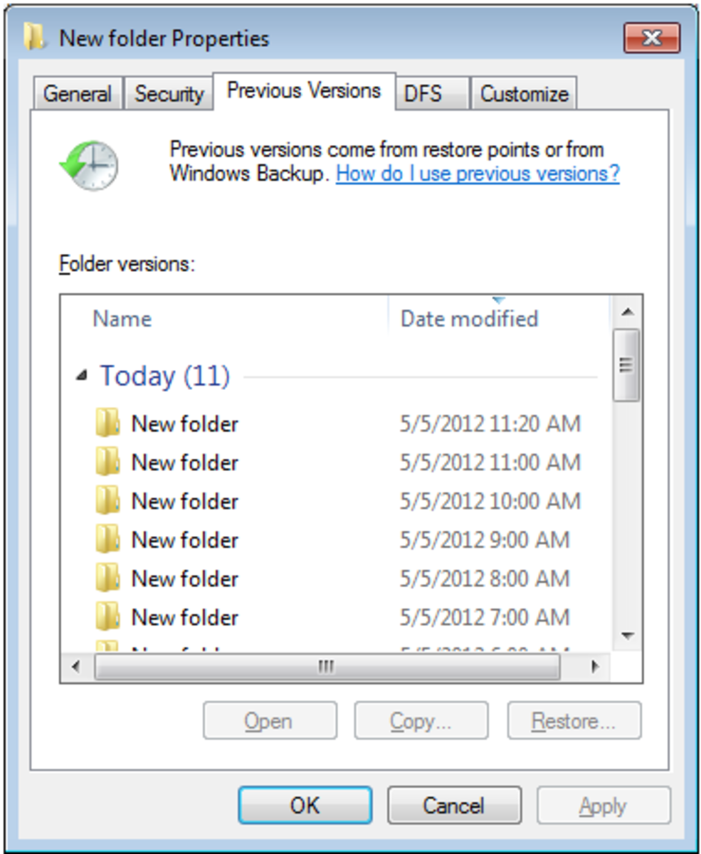 Accessing Previous Versions of my deleted files