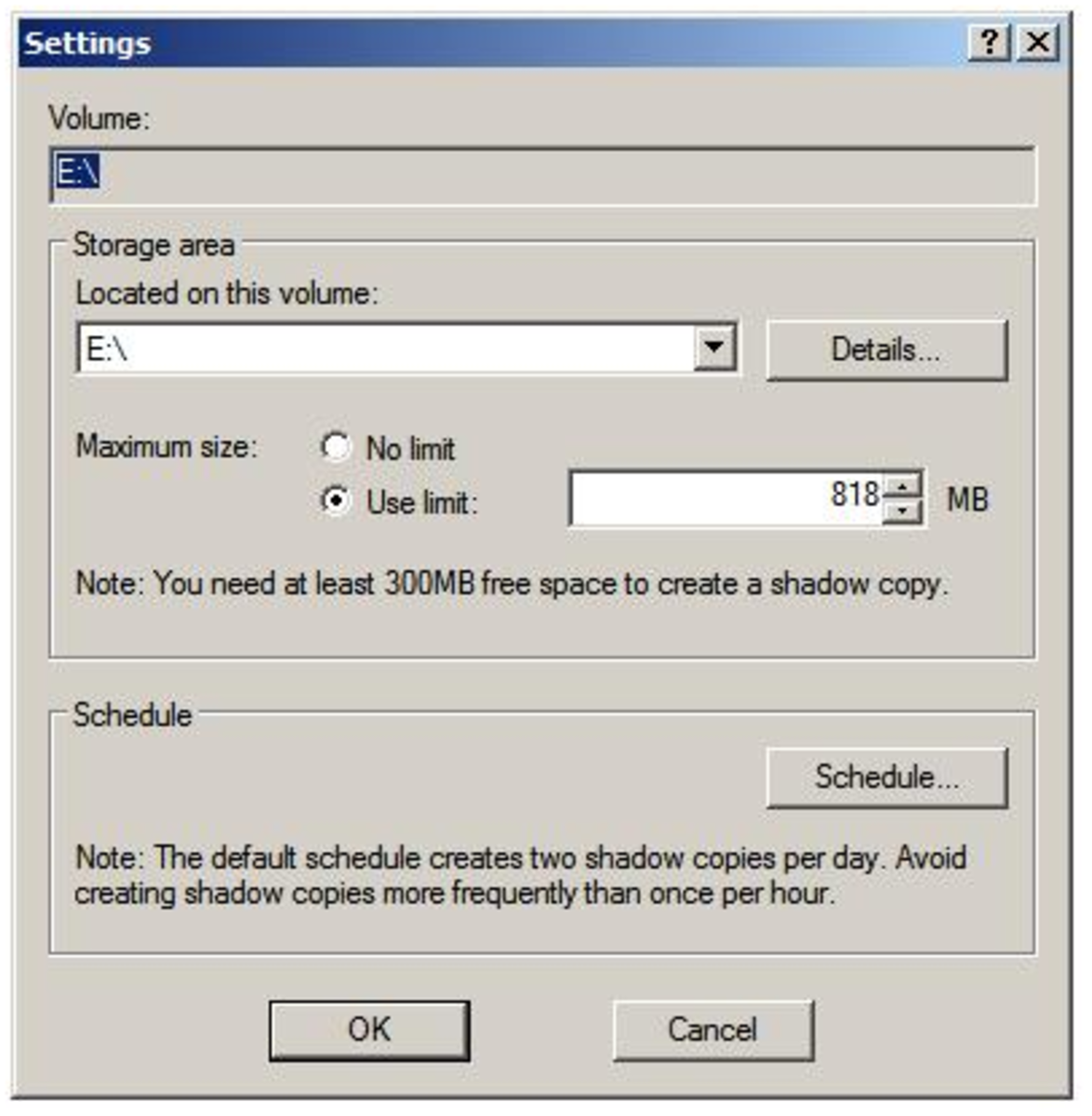 Configuring Shadow Copy, illustration of Settings tab.