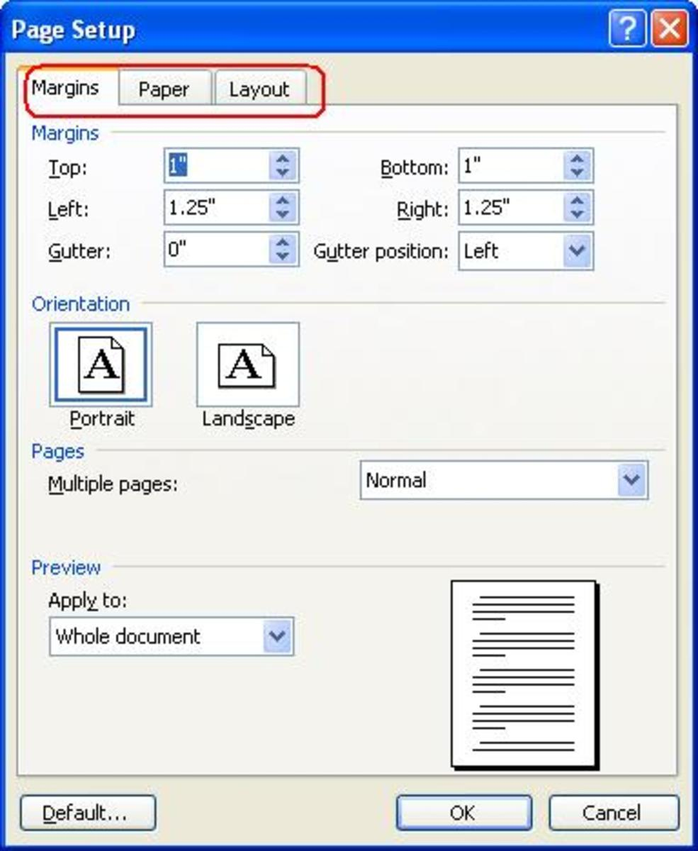 Page set up dialog box