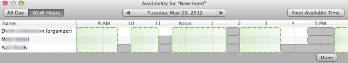 """""""Find A Meeting"""" Time in iCal: Easily see when your friends and coworkers are available."""