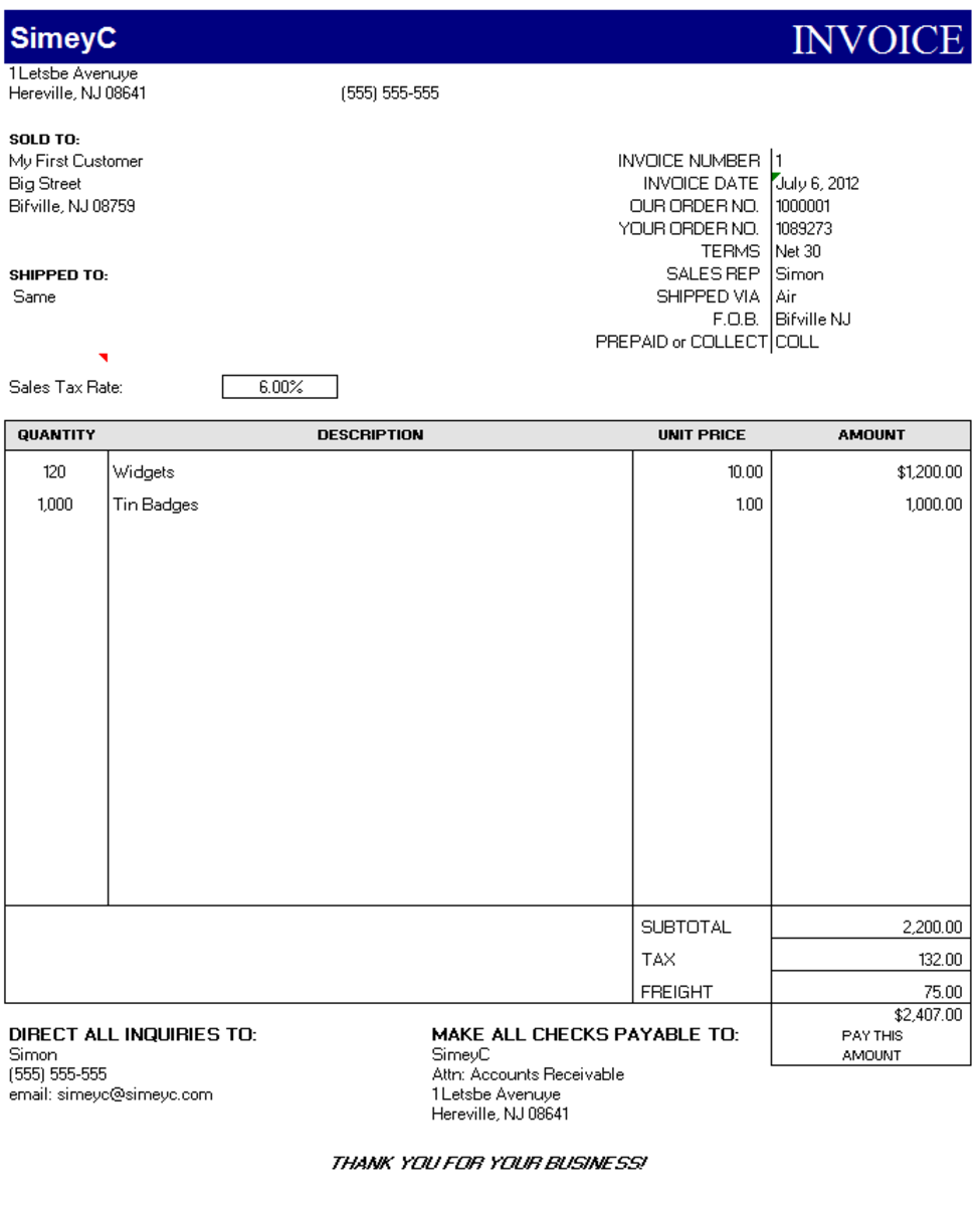 The Final Invoice Edited With Sales Information, Customer Information Etc.  You Can Now Send  Make My Own Invoice