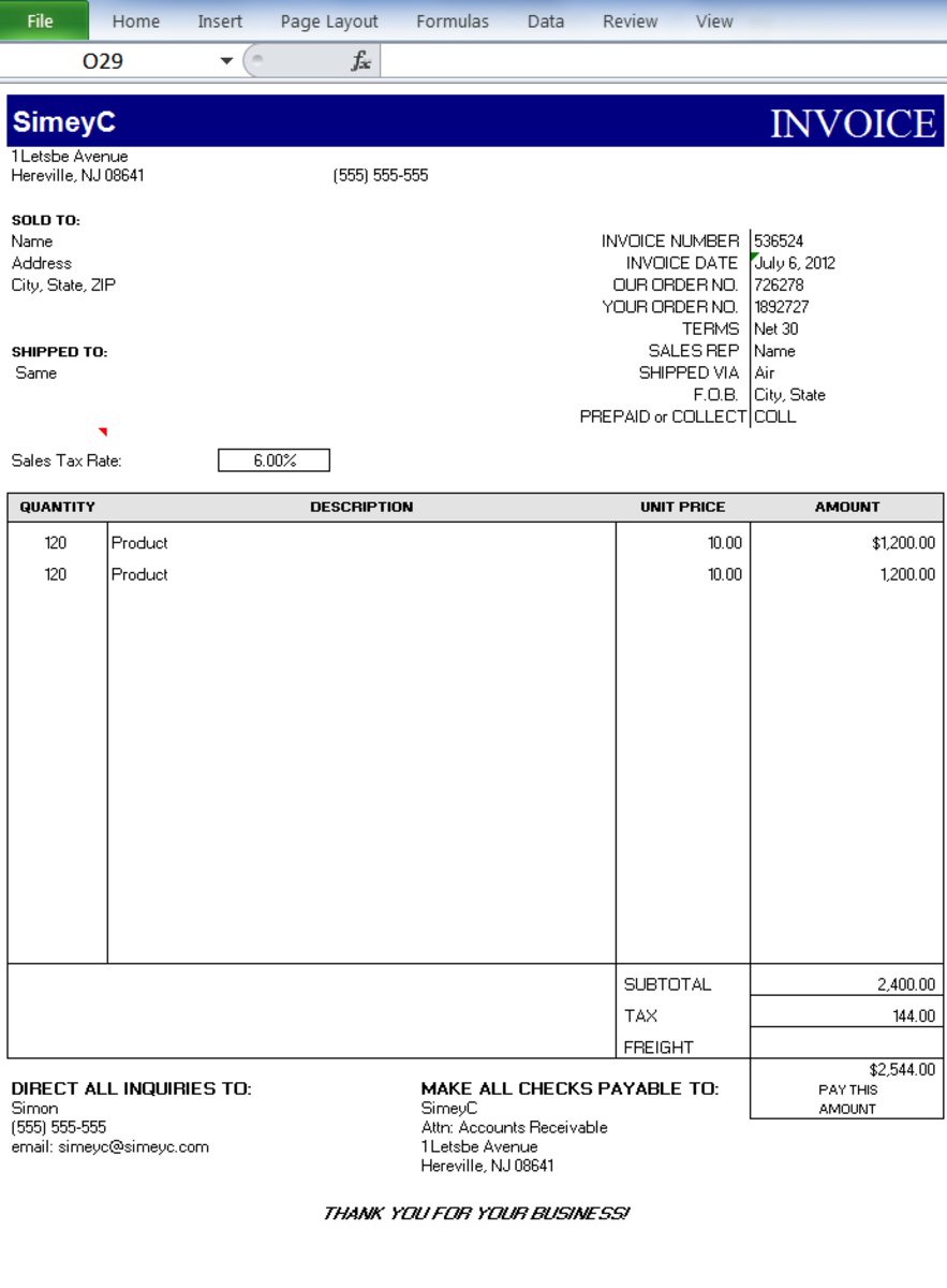 The final customized template - this can be used as a pro-forma for all Invoices.
