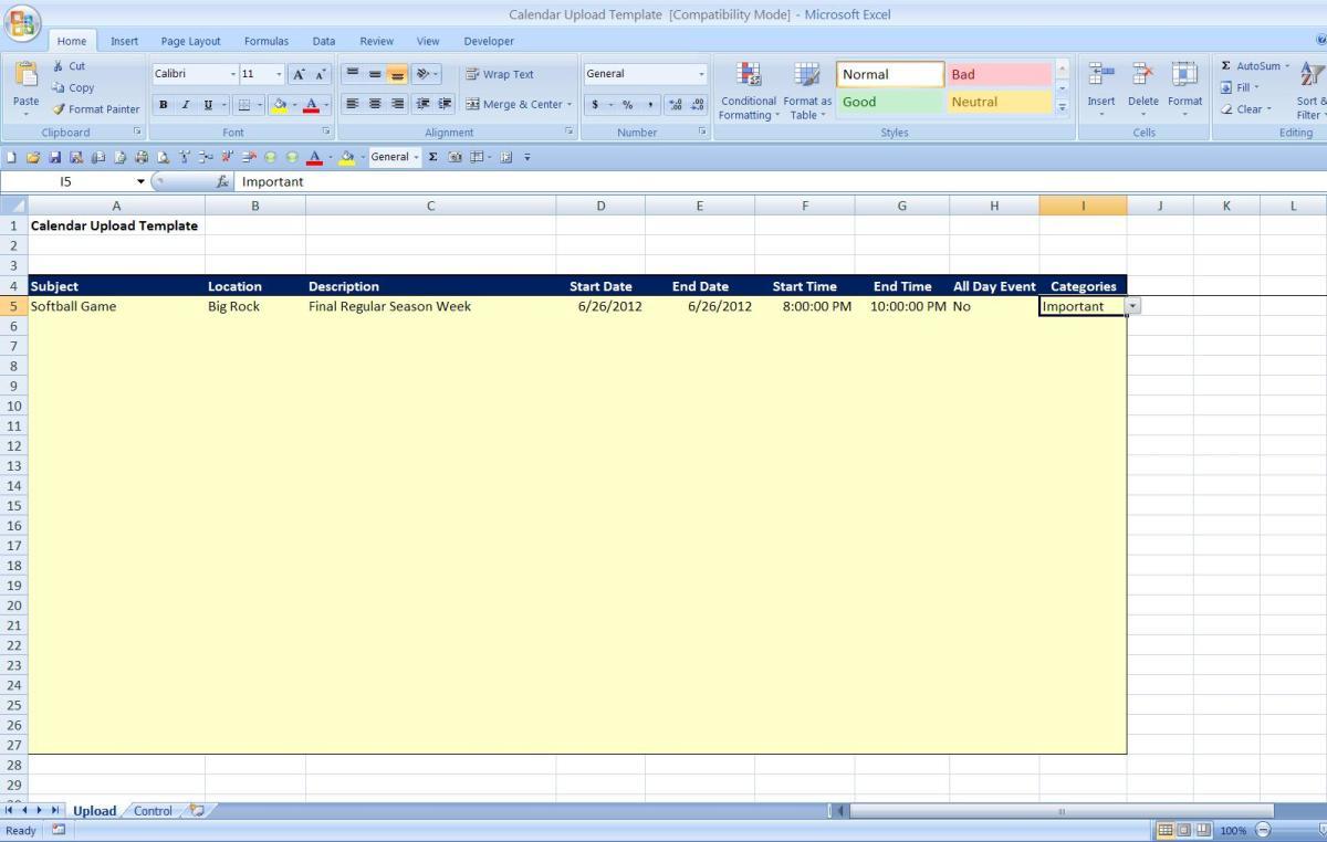 Upload Tab in Excel