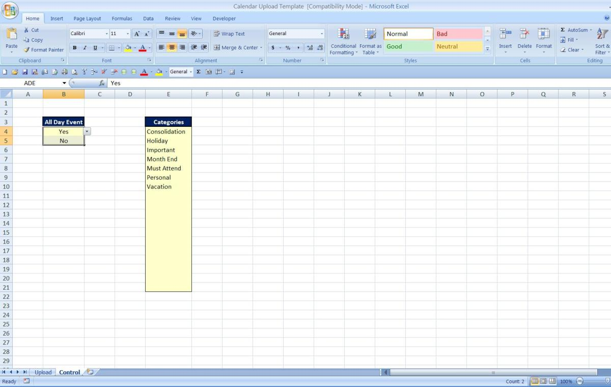 Control Tab in Excel