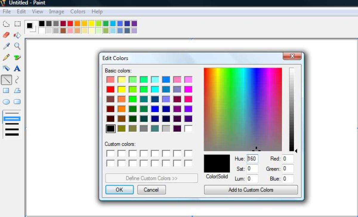 Screenshot: Define Custom Colors