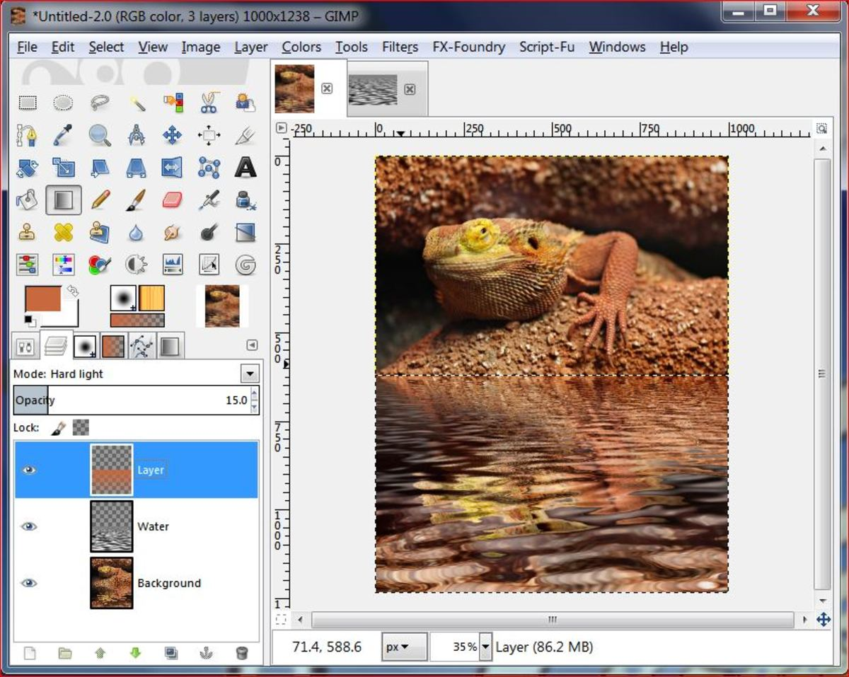 Fig.8 Creating a realistic water reflection in GIMP 2.8