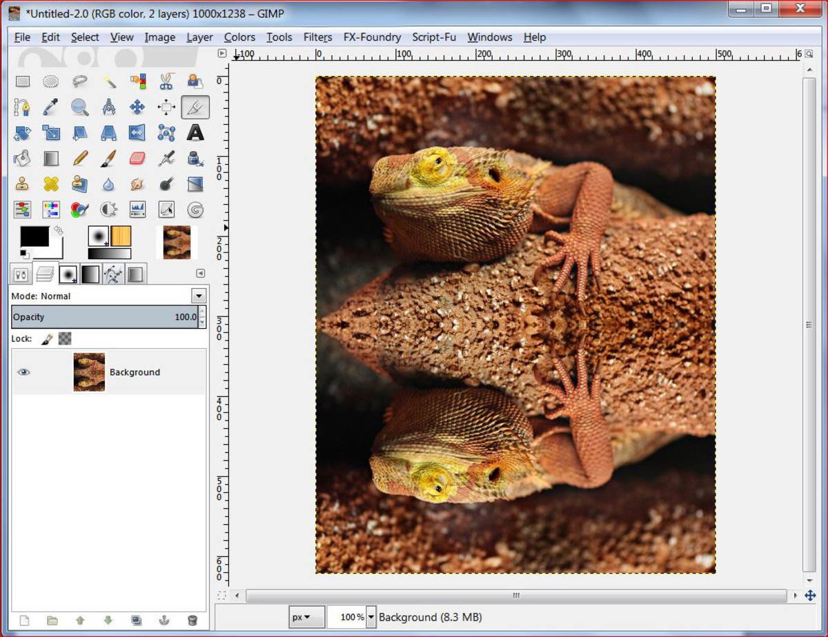Fig.3 Creating a realistic water reflection in GIMP 2.8
