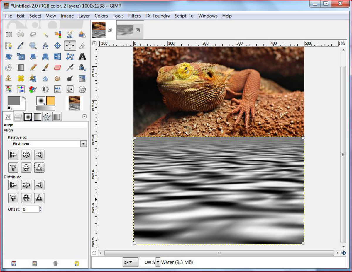 Fig.6 Creating a realistic water reflection in GIMP 2.8