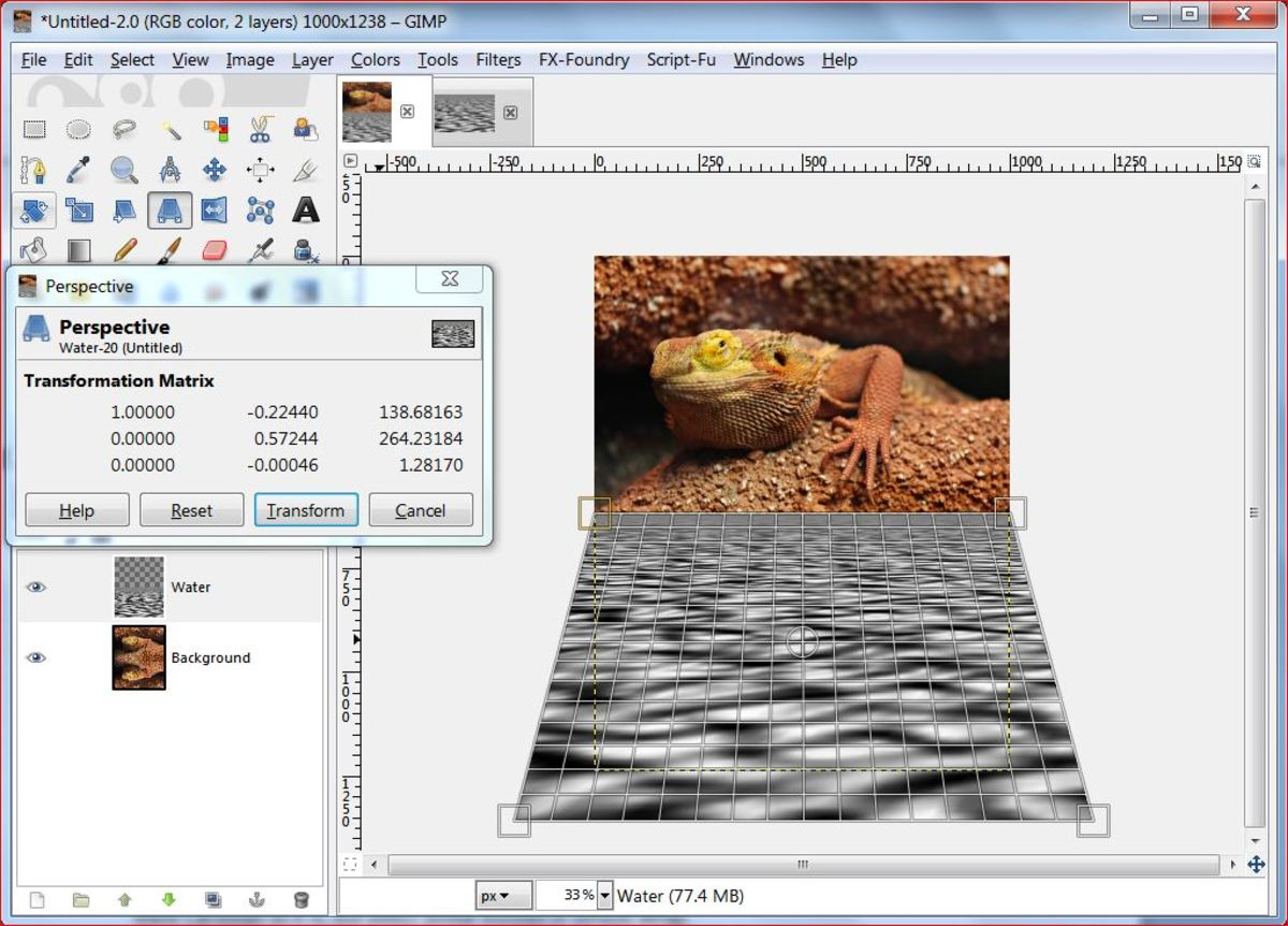 Fig.7 Creating a realistic water reflection in GIMP 2.8