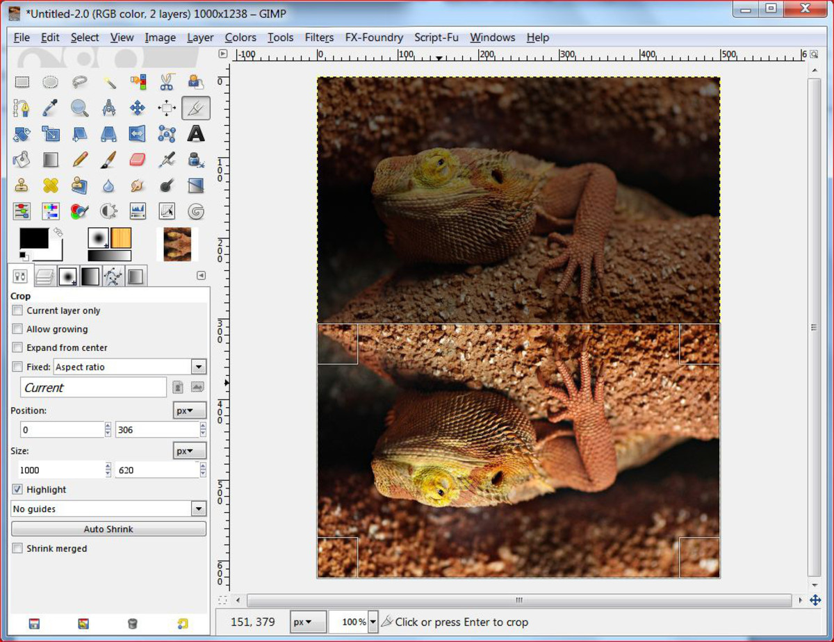 Fig.4 Creating a realistic water reflection in GIMP 2.8