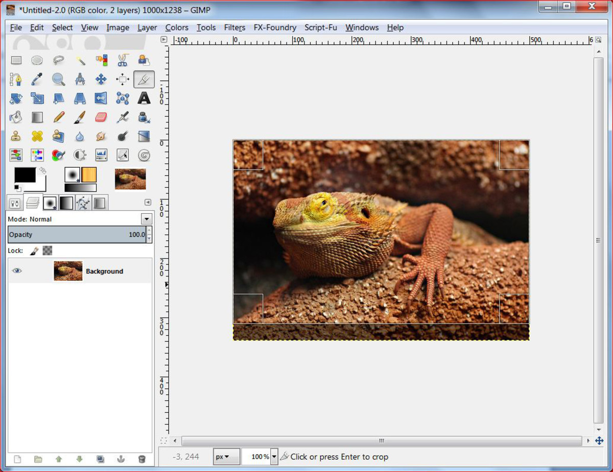 Fig.1 Creating a realistic water reflection in GIMP 2.8