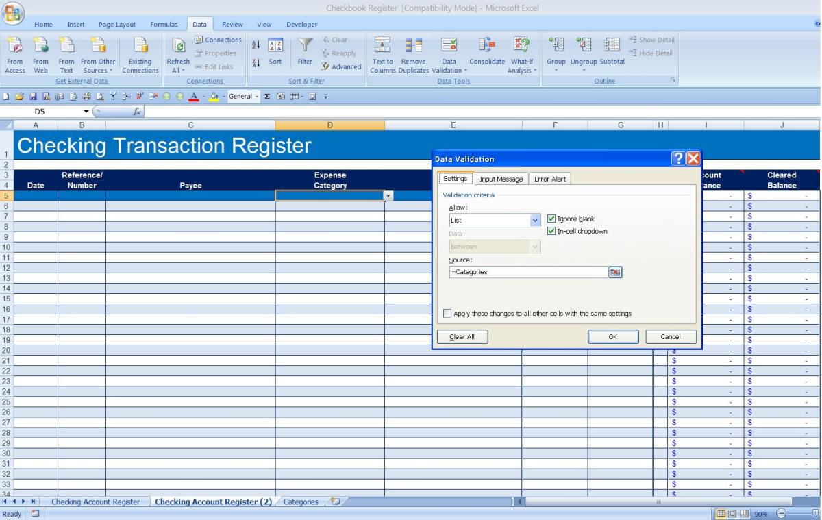 How To Create A Checkbook Register In Excel  Turbofuture