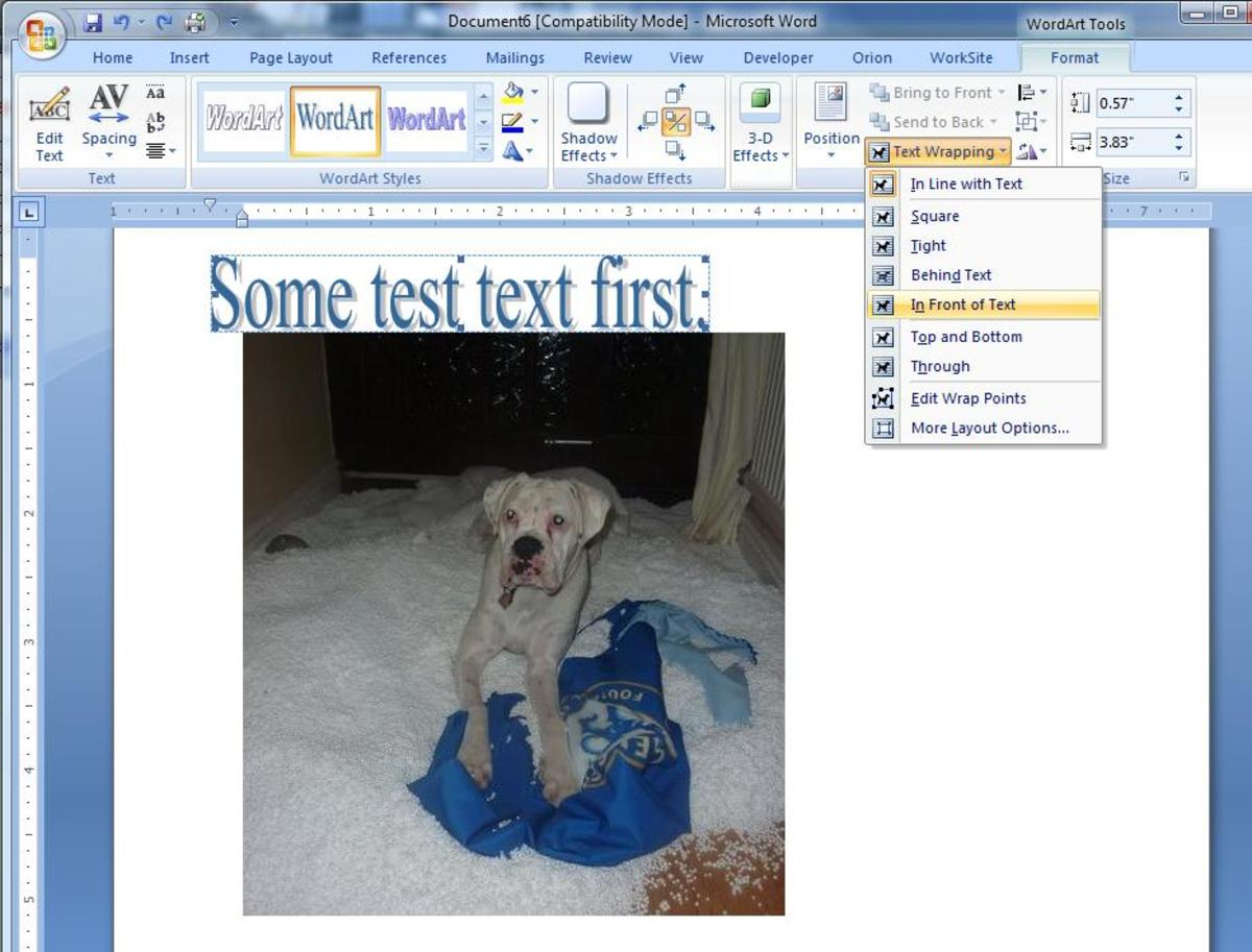 Choosing the option 'In Front of Text'