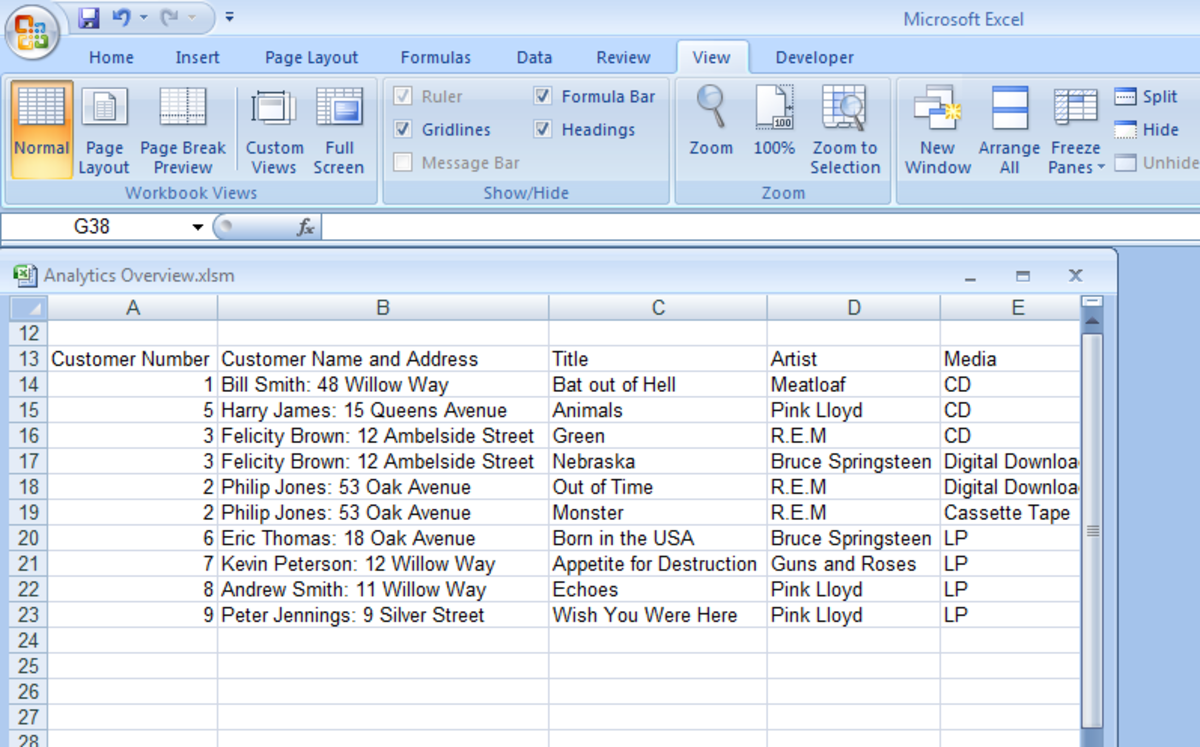 Showing a windowed Excel workbook allowing another workbook to be viewed at the same time in Excel 2007 and Excel 2010.