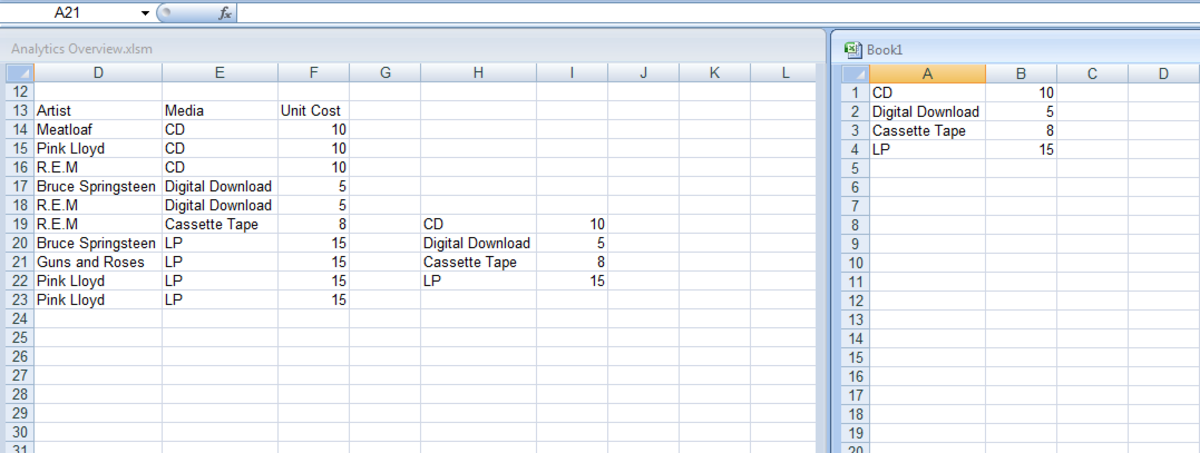 Two workbooks side by side in Excel 2007 and Excel 2010.