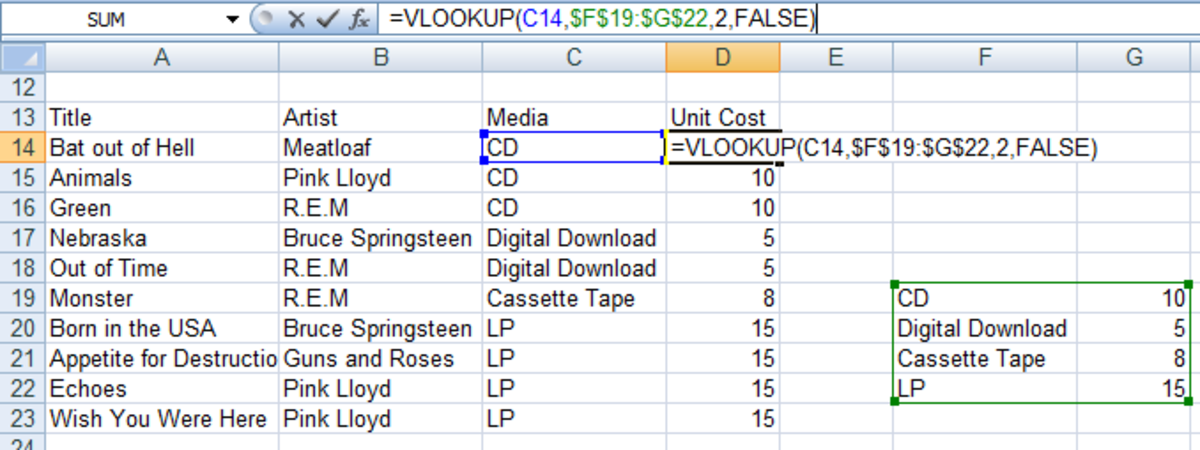 VLOOKUP formula in Excel 2007 and Excel 2010 looking up media pricing in a Pricing catalogue.