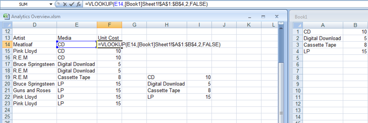 Illustrating a VLOOKUP formula using two workbooks in Excel 2007 and Excel 2010.
