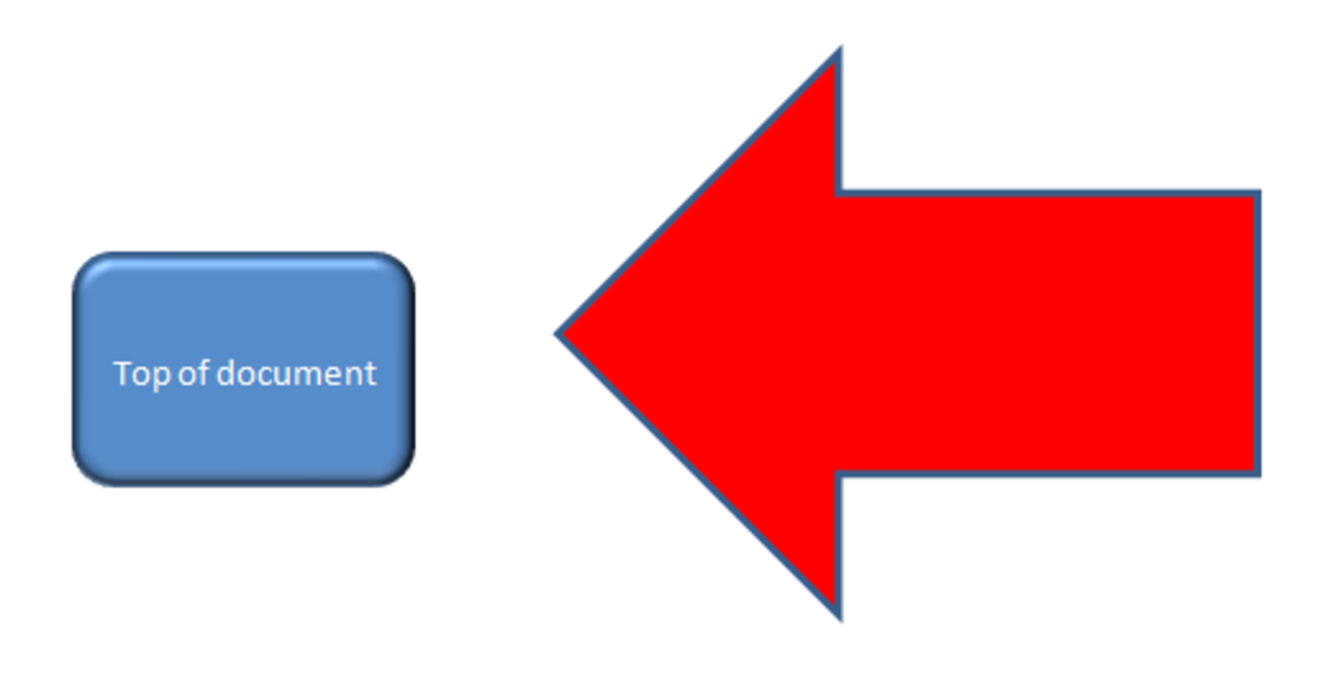 Using a block arrow shape to emphasize a button in Excel 2007.