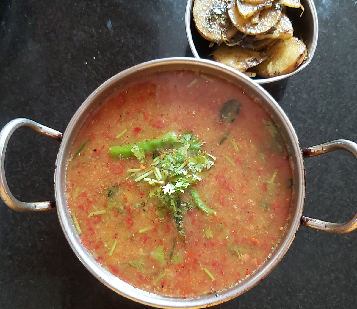 This instant rasam gets its sourness from tamarind rather than tomato.