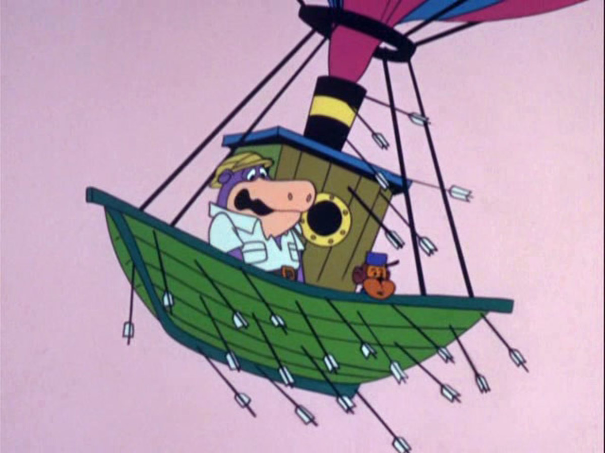 Peter Potamus and So-So in their flying ship.