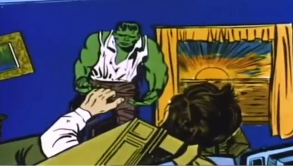 The Hulk about to change back into Bruce Banner