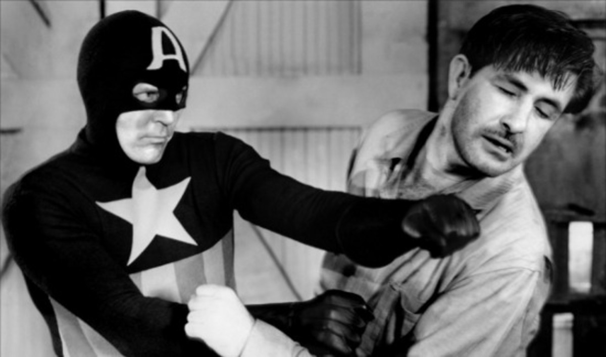 """Publicity photo from the 1944 film serial """"Captain America"""""""