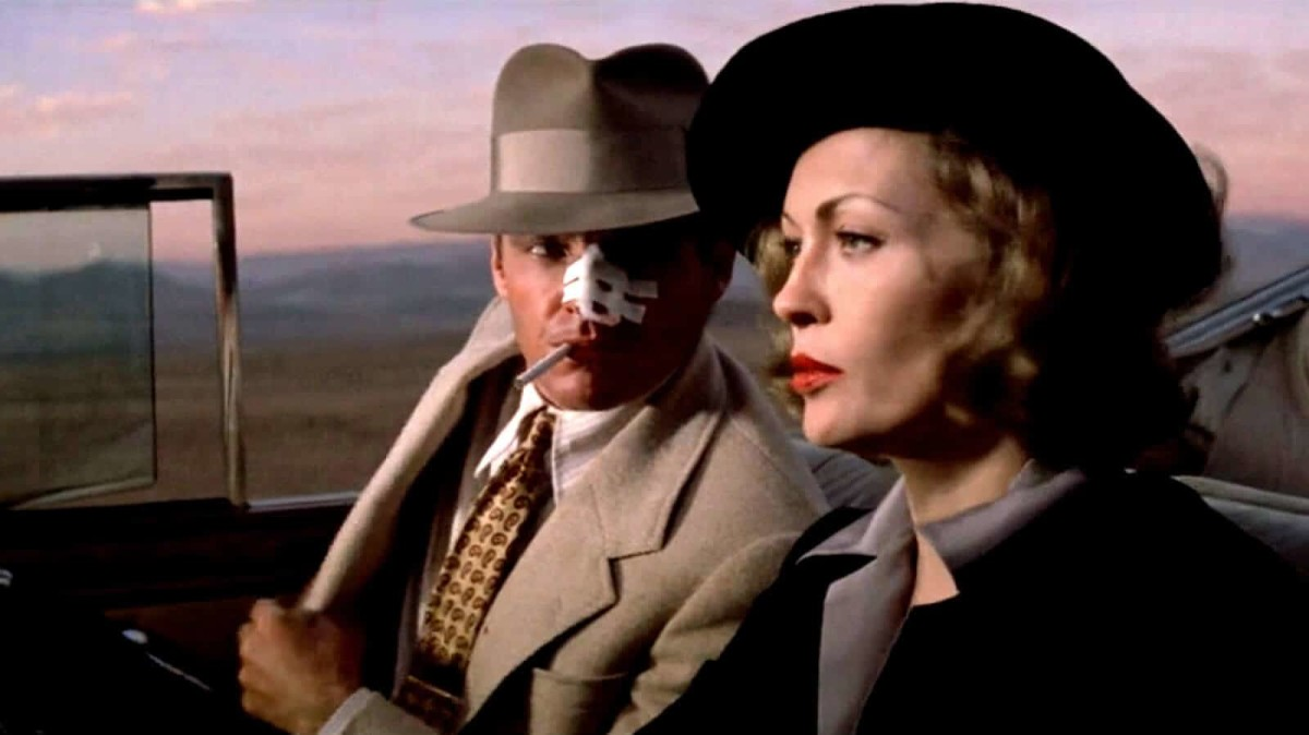 Dunaway (right) is deliberately reminiscent of legendary femme fatales of the past like Lauren Bacall and fits perfectly into the style of the picture.
