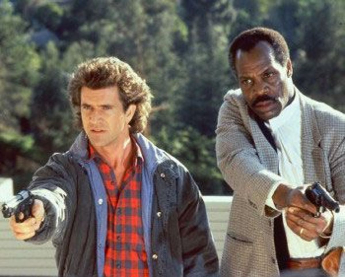 Gibson (left) is surprisingly good as the tormented cop alongside Glover (right)