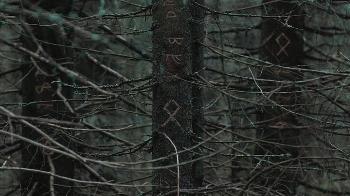 Runic letters carved into trees Night closes in 'The Ritual' (2018), a Netflix Original.