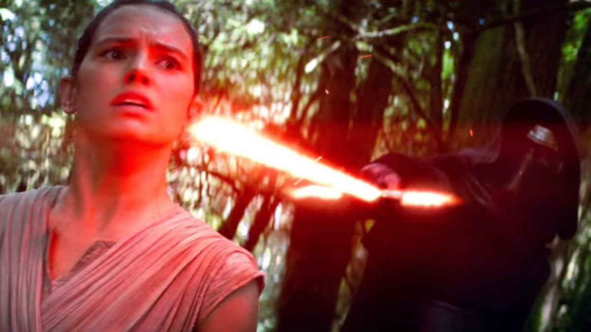 Rey (left) and Kylo Ren (right) are two of the new characters introduced in the film