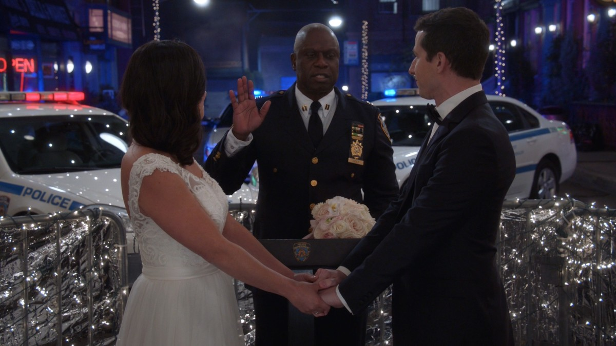 In the Season 5 Finale of Brooklyn Nine-Nine, Jake and Amy finally tie the knot!