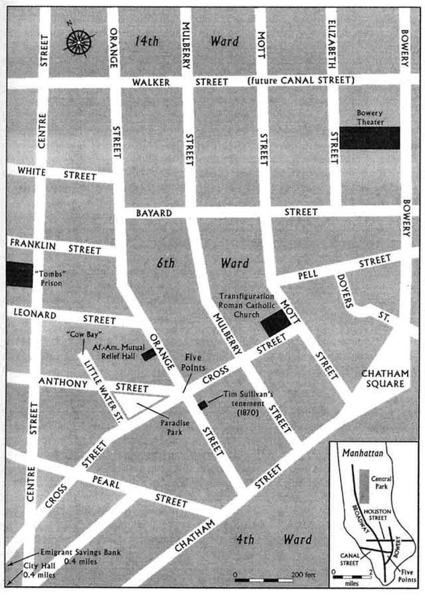 The Five Points neighborhood in Manhattan.