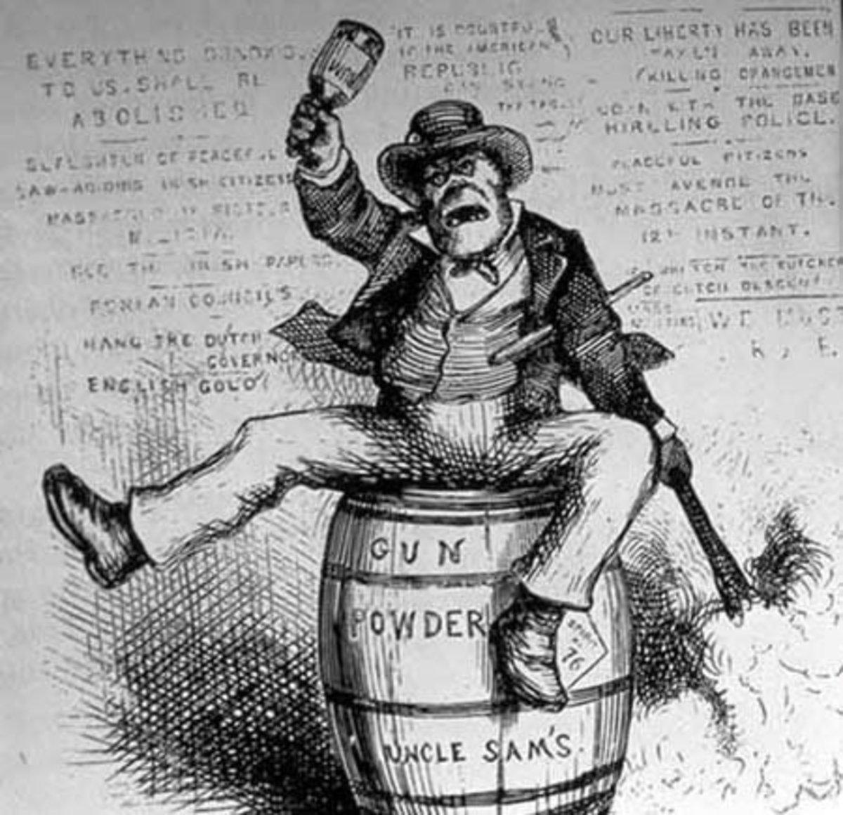 A racist cartoon depiction of an Irish immigrant.