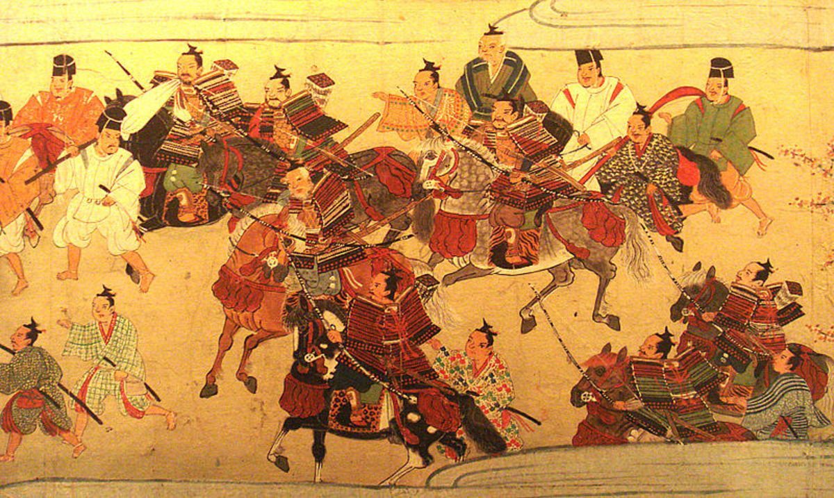 A print of samurai during the Muromachi Era