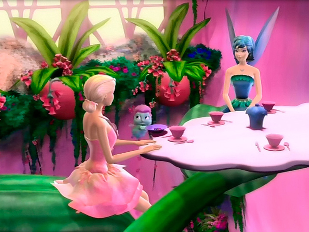 Elina and companion pet, Bibble, sit down to tea with Azura, the Guardian Fairy.