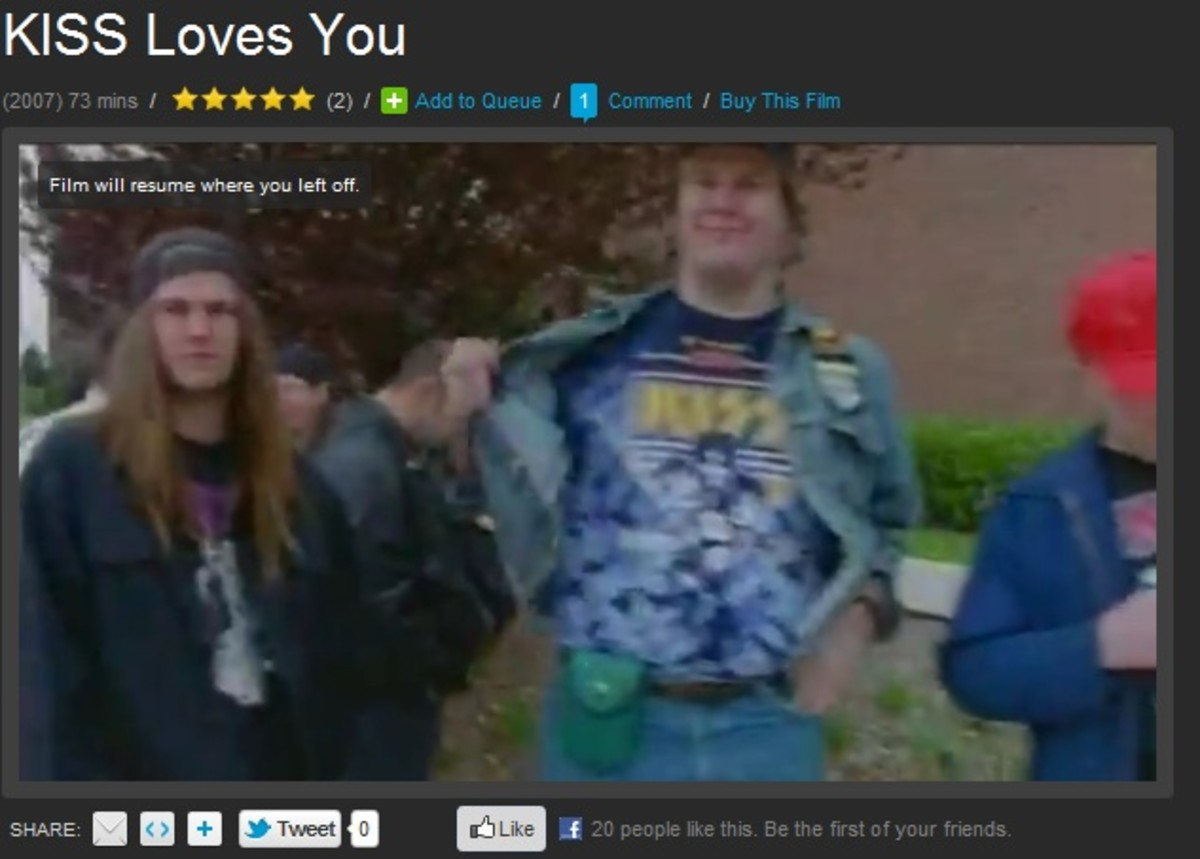"Screen shot of the author's brief appearance in ""KISS Loves You"" (that's me on the right, proudly showing off my KISS t-shirt)"