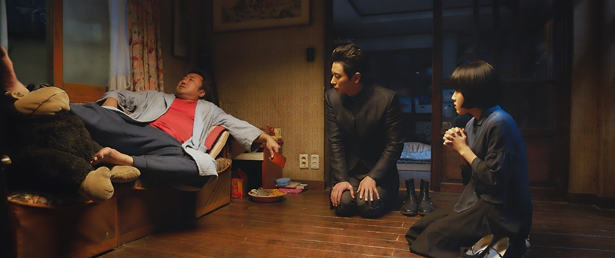 "Ma Dong-seok, Ju Ji-hoon, and Kim Hyang-gi as Sung-ju, Hewonmak, and Lee Deok-choon in, ""Along with the Gods: The Last 49 Days."""