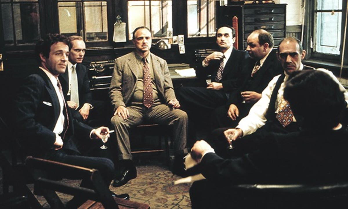 Don Vito and his family meeting with Sollozzo