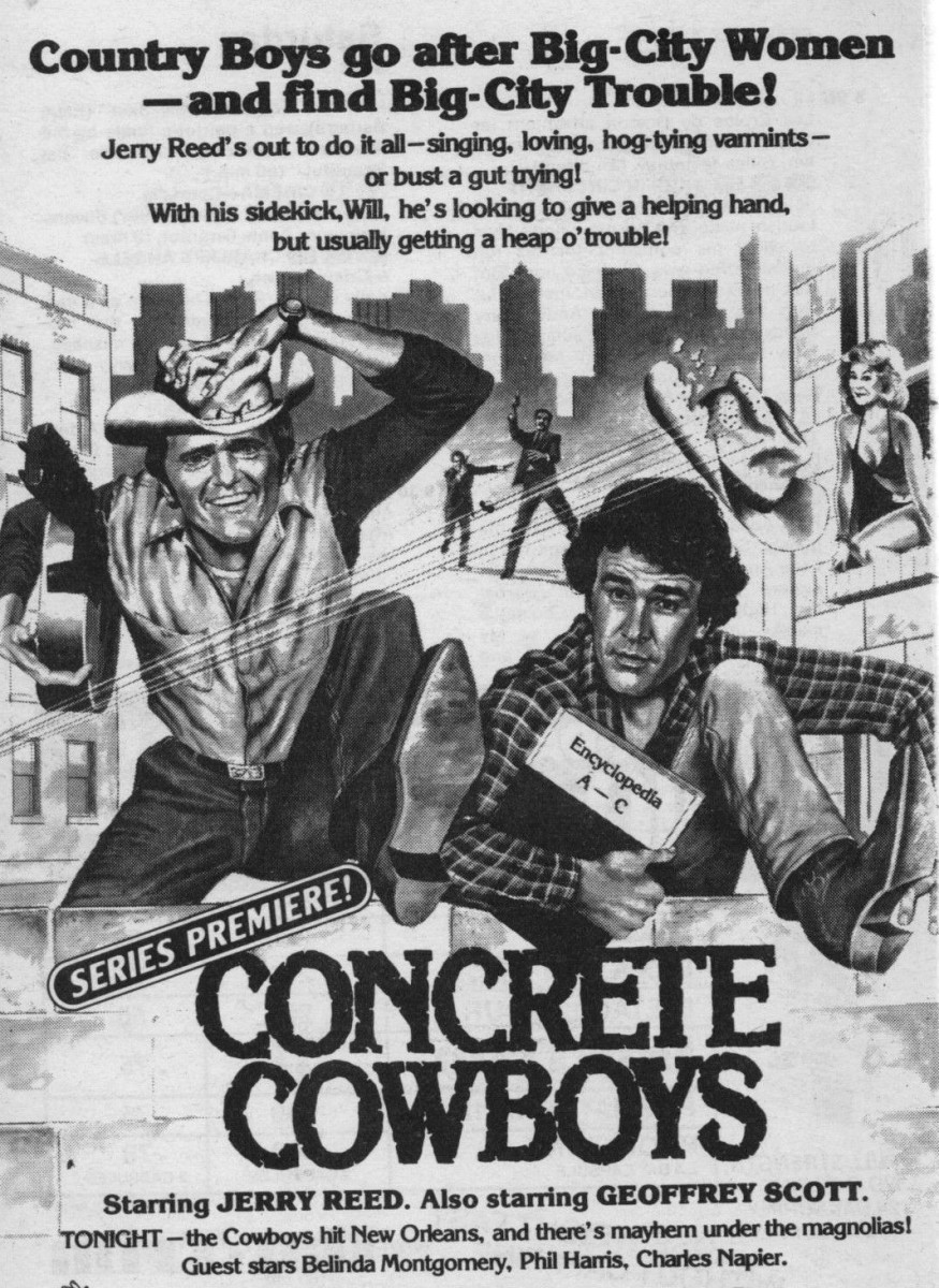 Nice TV Guide ad for Concrete Cowboys Jerry Reed TV series 1981