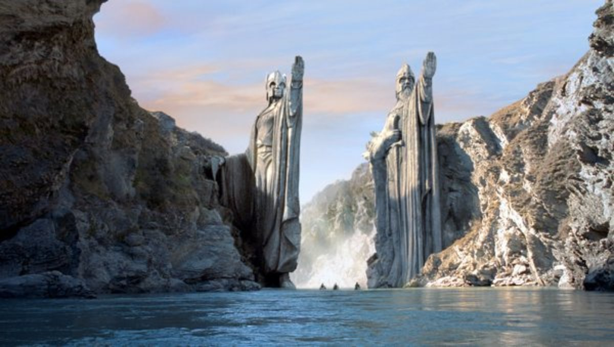 The gates of Argonath from The Fellowship of the Ring.
