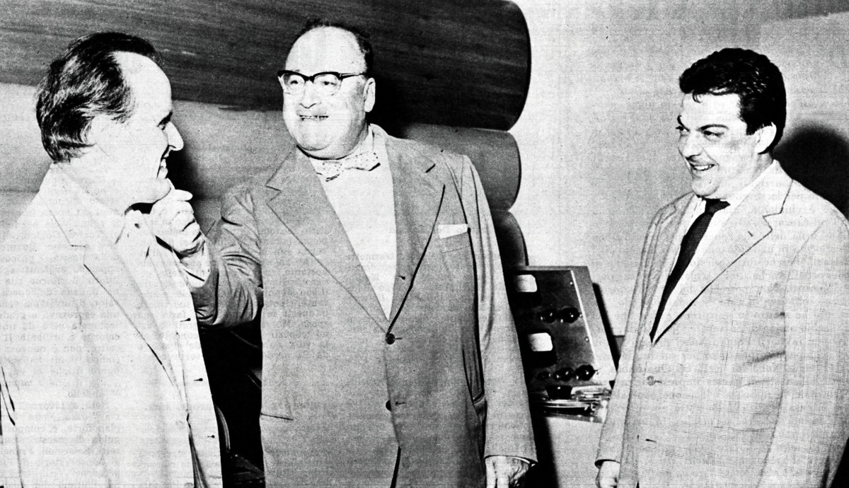 Nino Rota with Riccardo Bacchelli, winner of the Nobel prize for literature and the conductor Bruno Moderna. Rota is on the left.