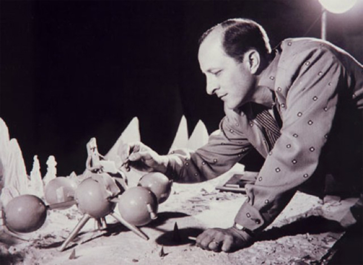 "Art Clokey painting the spaceship from ""Gumby on the Moon"""