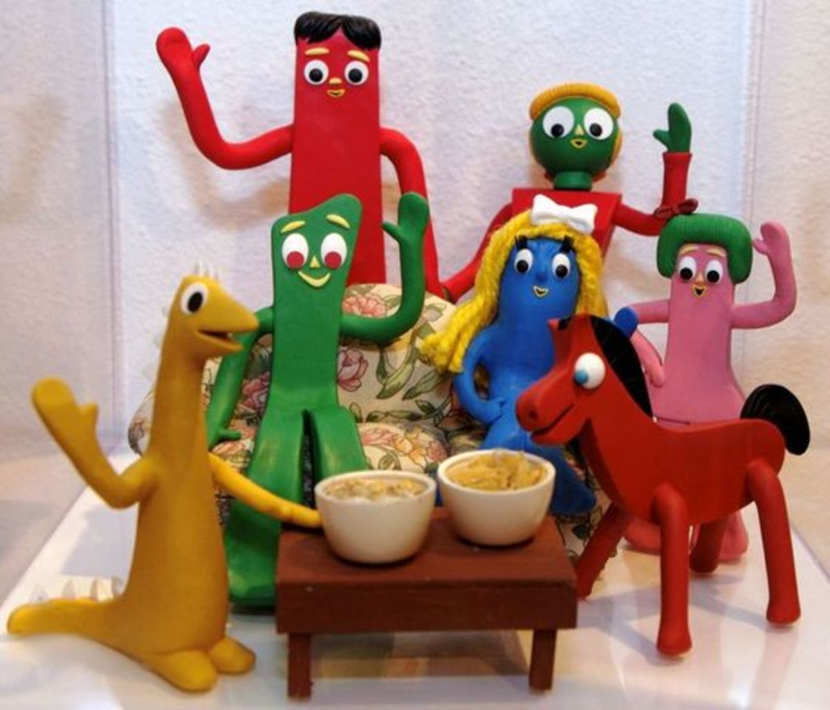 Gumby with his family and friends