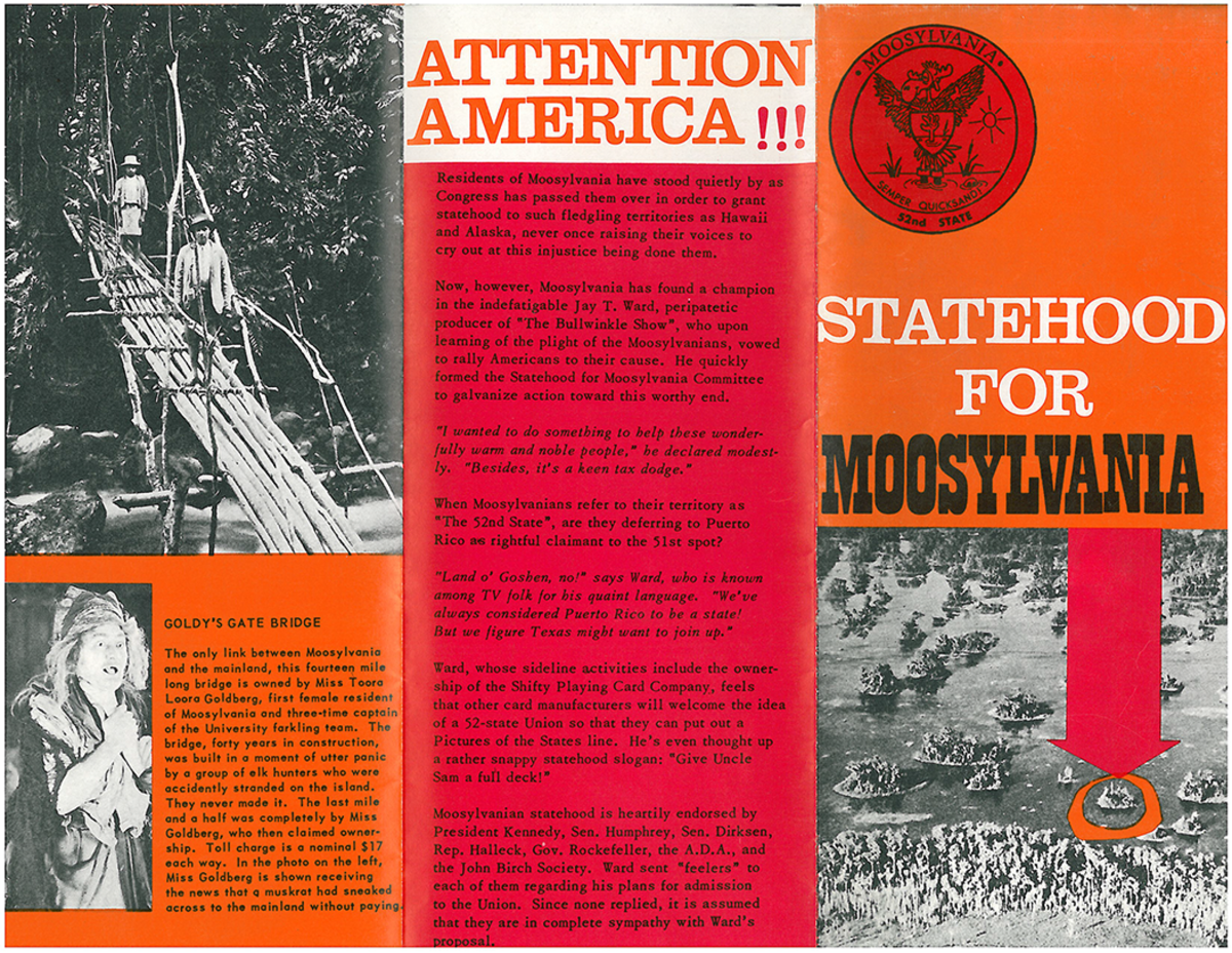 The cover to one of the brochures handed out to help raise awareness of Moosylvania's petition for statehood