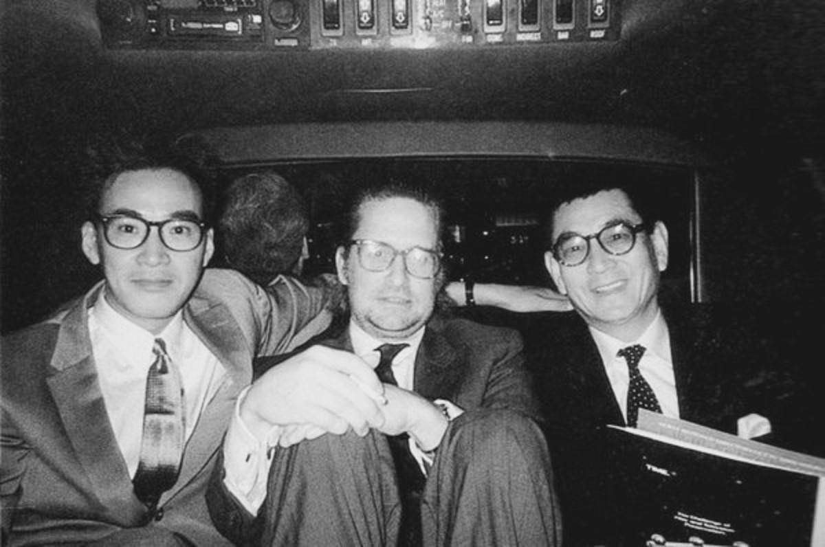 Yusaku Matsuda, Michael Douglas & Ken Takakura during filming