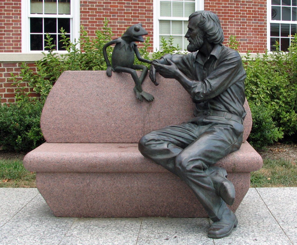Jim Henson statue at the University of Maryland not far from where the commercials were filmed.