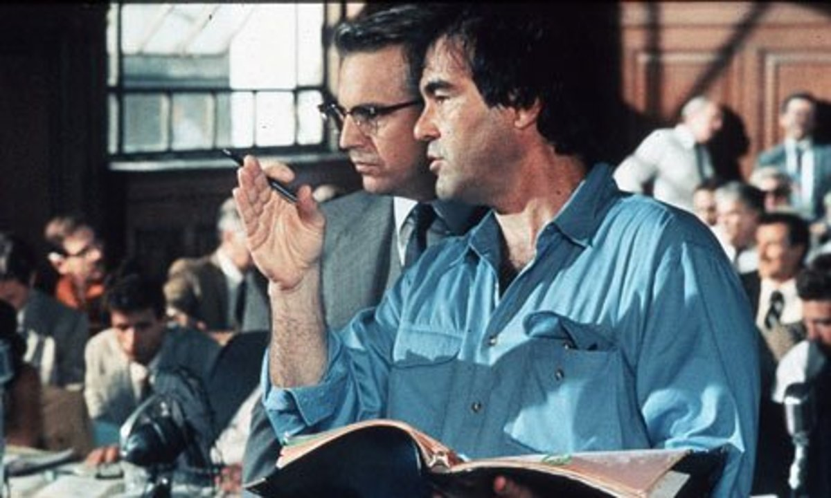 Kevin Costner and Oliver Stone on set